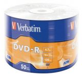 Диски DVD-R Verbatim AZO 16X 50шт.Wrap 4.7GB Matt Silver (43788)